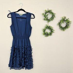Gianni Bini Navy Blue Smocked Petal Dot Dress M